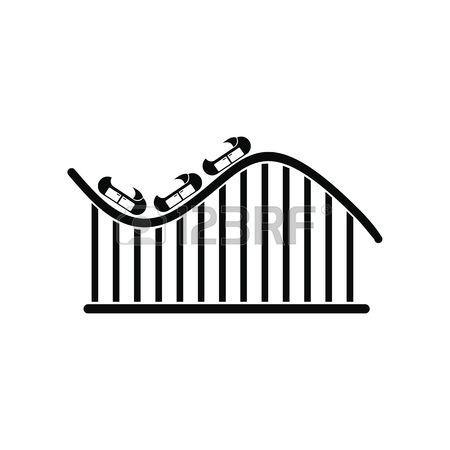 450x450 Vector Icon Of Roller Coaster Silhouette With Wagons And Rails