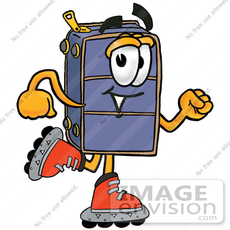 450x450 Clip Art Graphic Of A Suitcase Luggage Cartoon Character Roller