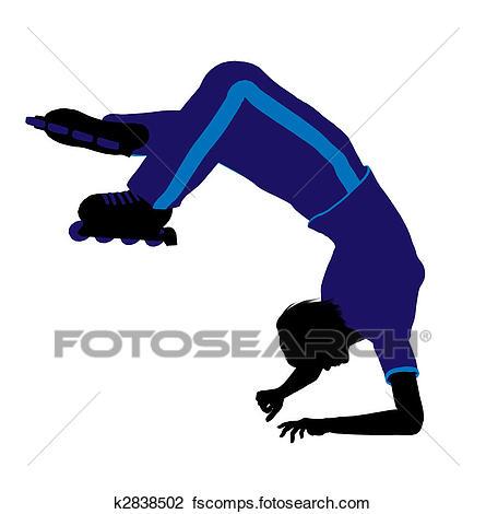 445x470 Clip Art Of Female Roller Skater Silhouette K2838502