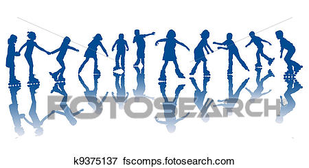 450x245 Clip Art Of Kids On Roller Skates K9375137
