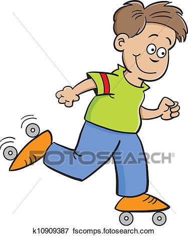 375x470 Clip Art Of Roller Skate Boy K10909387