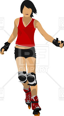 222x400 Silhouette Of Woman Roller Skater Royalty Free Vector Clip Art