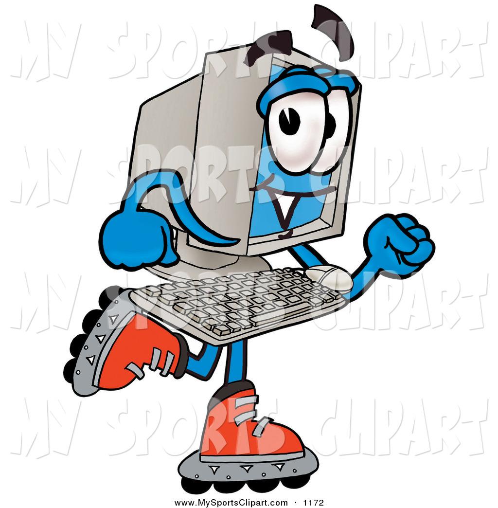 1024x1044 Sports Clip Art Of A Blue Desktop Computer Mascot Cartoon