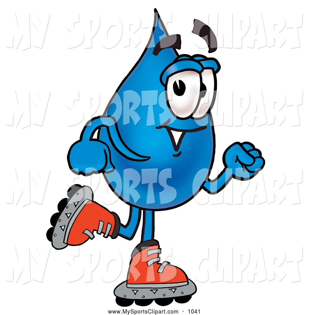 1024x1044 Sports Clip Art Of A Water Drop Mascot Cartoon Character Roller
