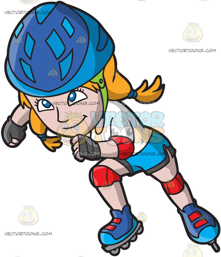 882x1024 A Female Roller Skater Charging Ahead Cartoon Clipart