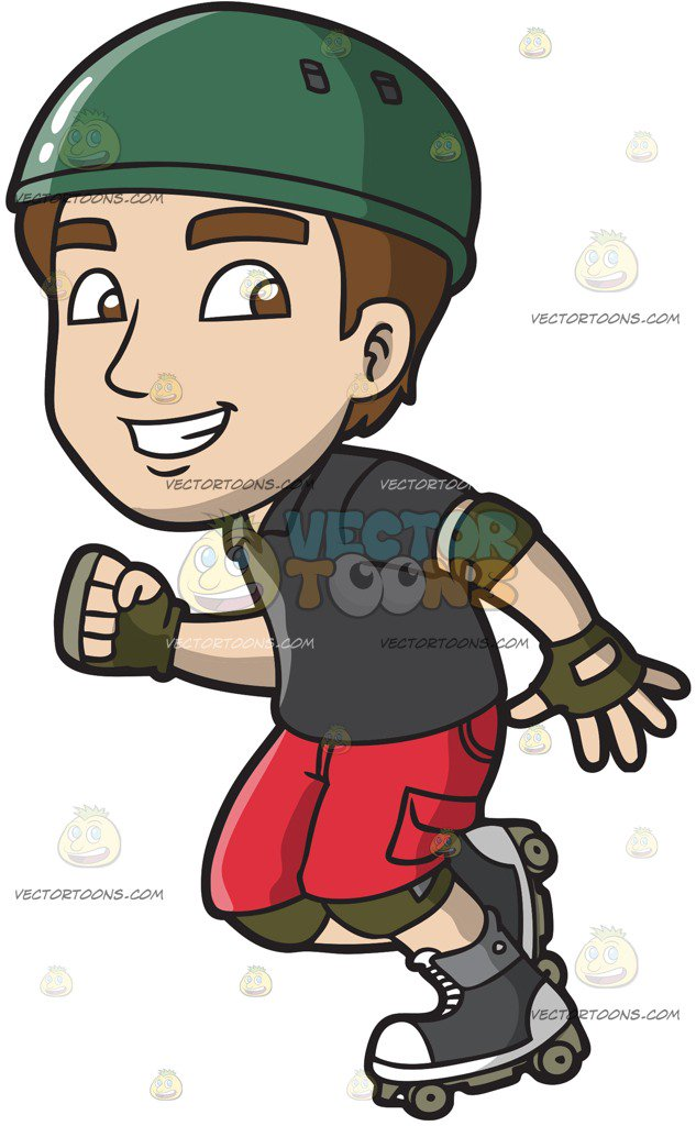 633x1024 A Man Having Fun In Roller Skates Cartoon Clipart
