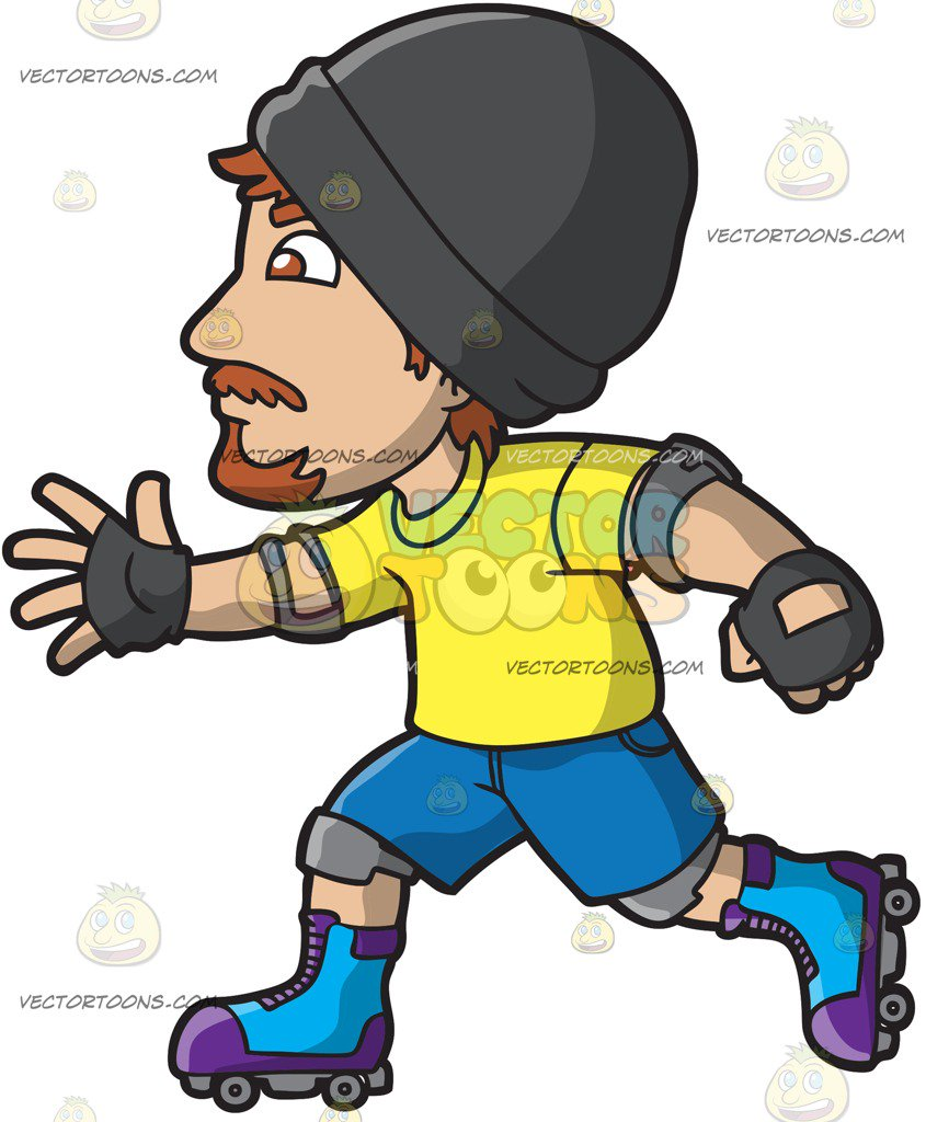 845x1024 A Roller Skating Hipster Guy Cartoon Clipart