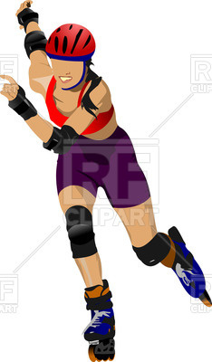 234x400 Roller Skates Girl In Helmet Royalty Free Vector Clip Art Image