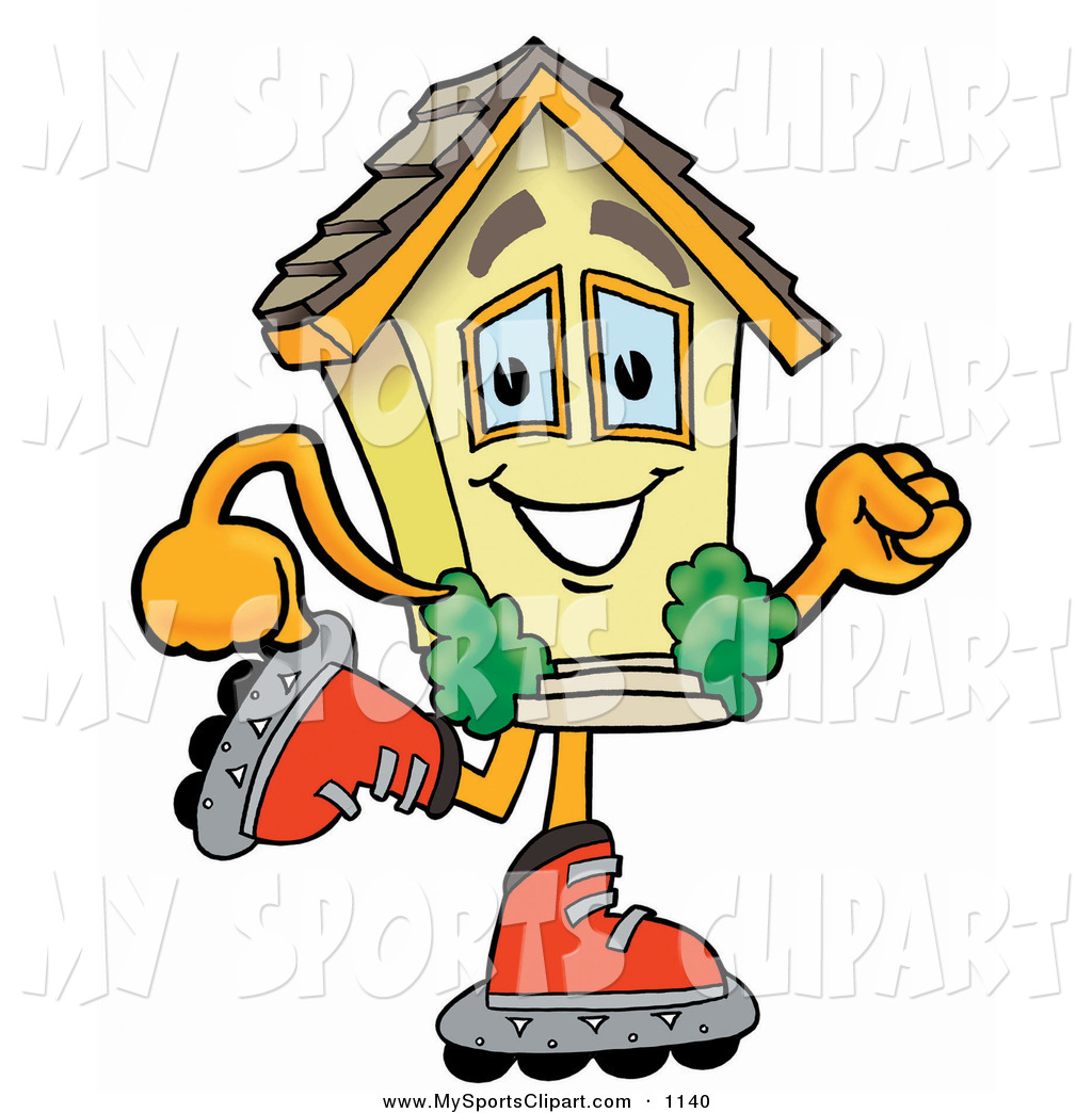 1024x1044 Sports Clip Art Of A Smiling House Mascot Cartoon Character Roller