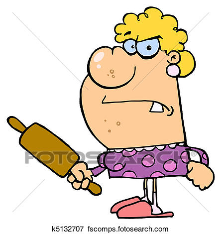 444x470 Clip Art Of Angry Wife With A Rolling Pin K5132707