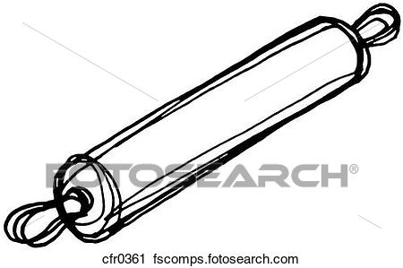 450x299 Clipart Of A Black And White Illustration Of A Rolling Pin Cfr0361