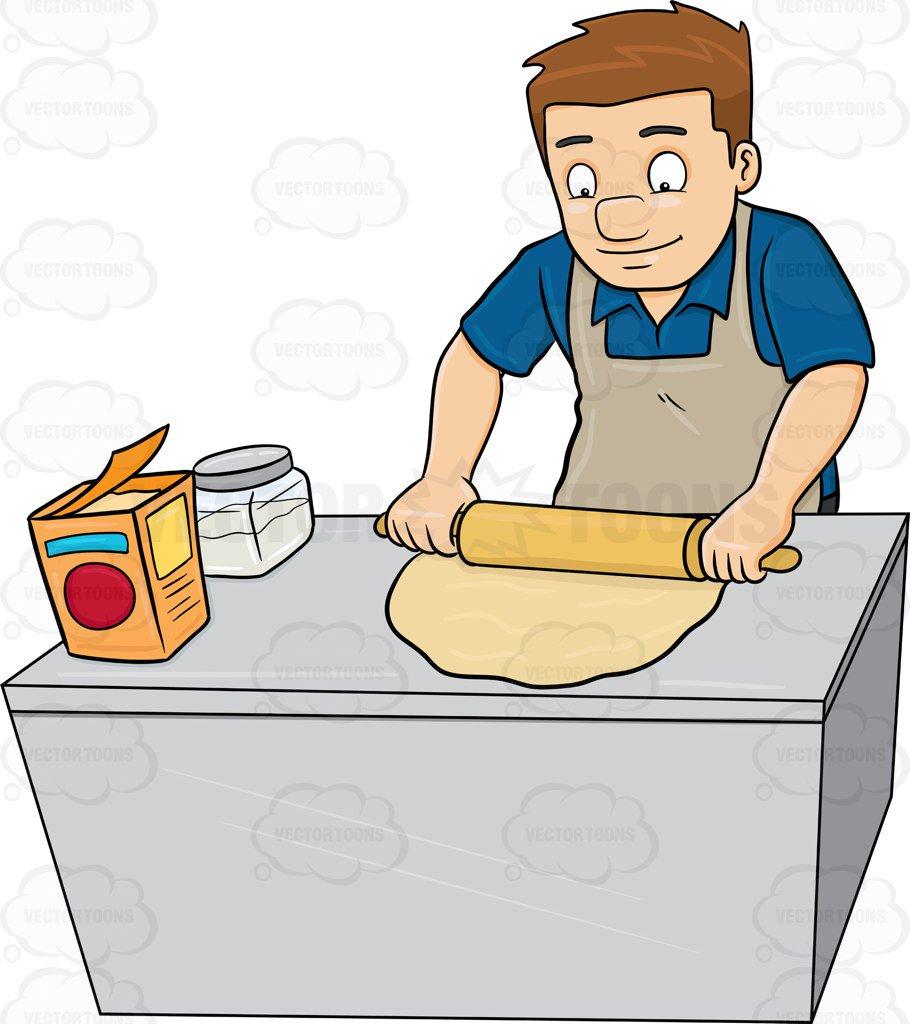 910x1024 A Man Flattening A Dough With A Rolling Pin Cartoon Clipart