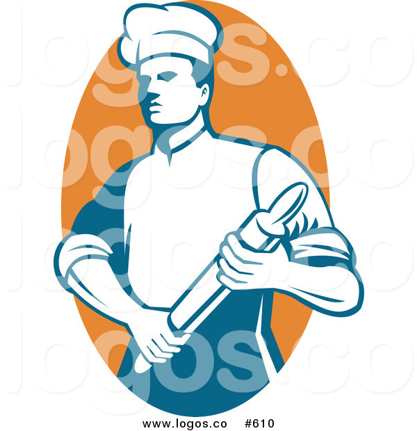 600x620 Royalty Free Vector Logo Of A Chef With Rolling Pin By Patrimonio