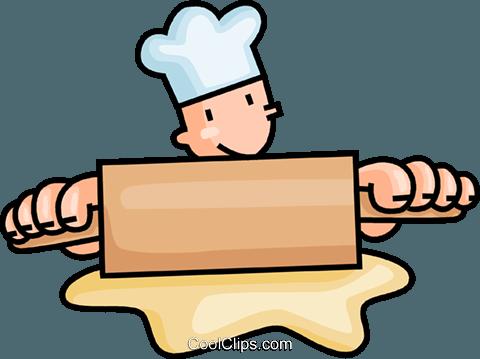 480x359 Baker Rolling Dough Royalty Free Vector Clip Art Illustration