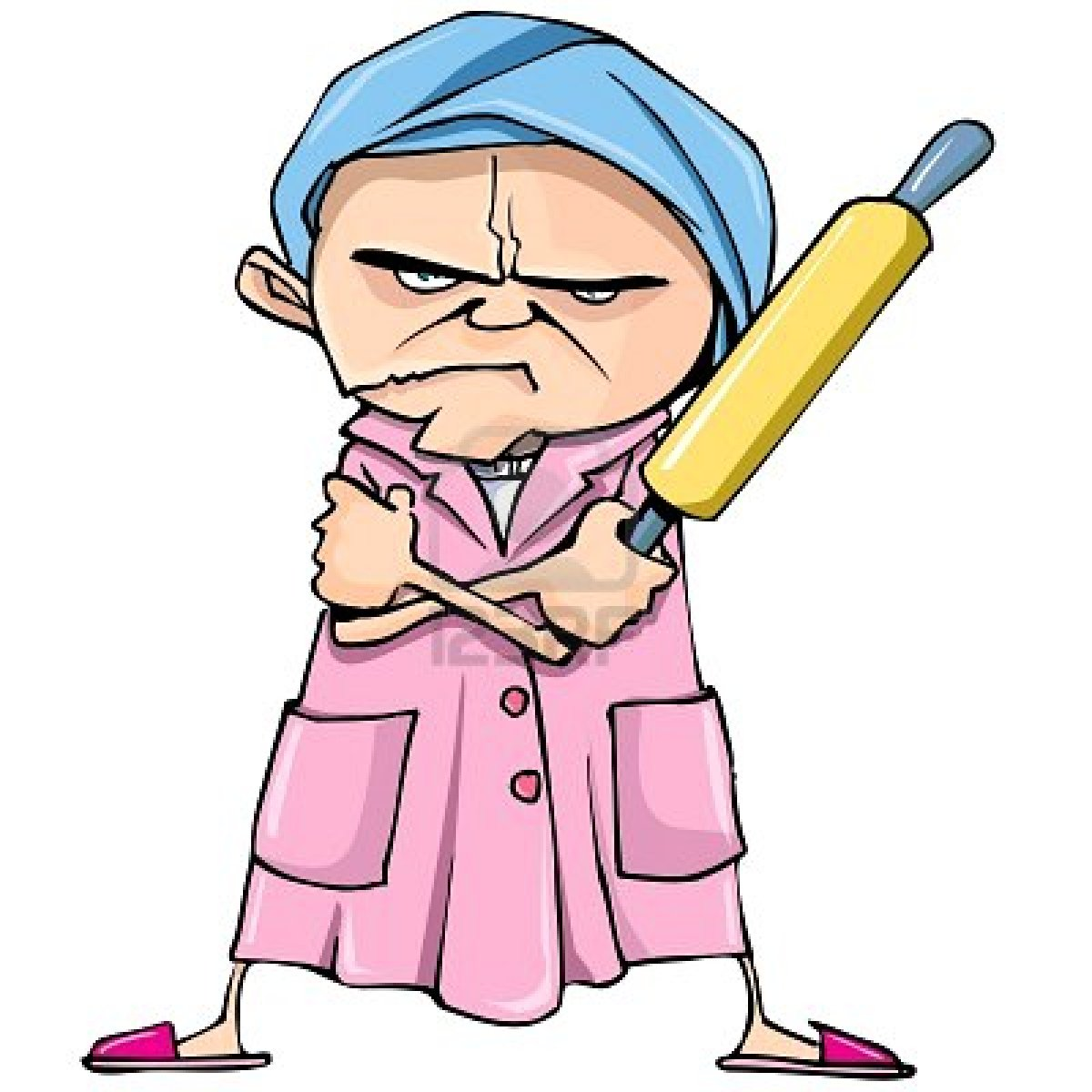 1200x1200 Cartoon Of Mean Old Woman With A Rolling Pin. Description
