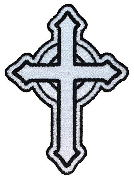440x587 White Catholic Cross Patch Religious Roman Irish