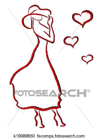 337x470 Clipart Of Romantic Woman In Big Hat K19089650