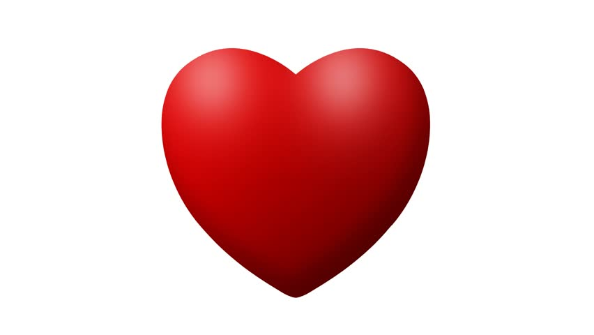 852x480 Love Heart Thumping Beating On White Background.animation Of Red
