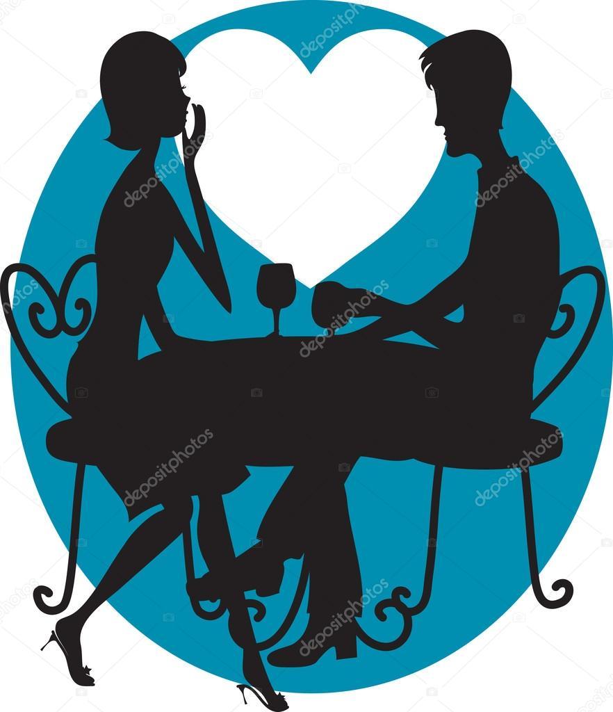 882x1024 Romantic Couple Silhouette Stock Vector Mkoudis