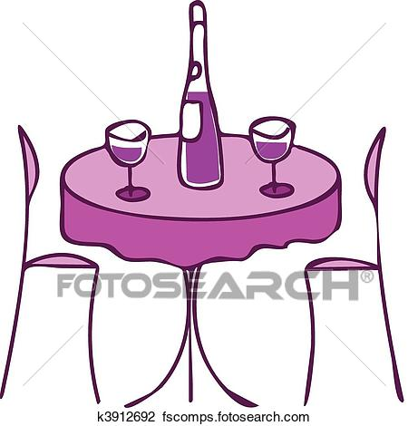 450x470 Clipart Of Table With Wine And Two Chairs