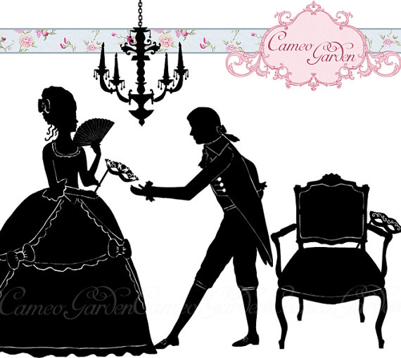 570x510 Silhouette Masked Ball Clipart