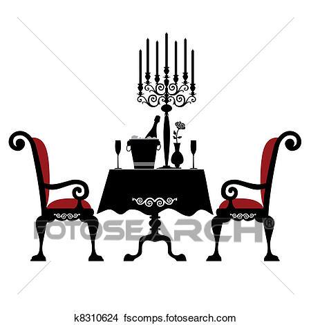 450x470 Clipart Of Romantic Dinner For Two K8310624