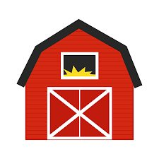 225x225 Avenue Clipart Of A Red Barn With A Green Roof (Attractive Barn