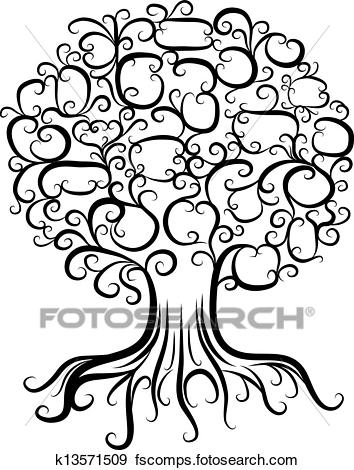 354x470 Clip Art Of Ornamental Tree With Roots For Your Design K13571509