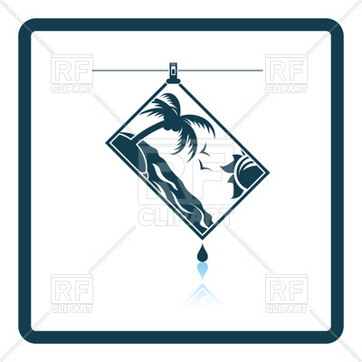 400x400 Icon Of Photograph Drying On Rope Royalty Free Vector Clip Art