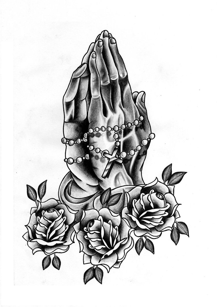 752x1063 Praying Hands With Rosary And Roses Drawings