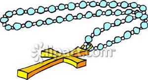 300x163 Golden Cross On Blue Rosary Beads