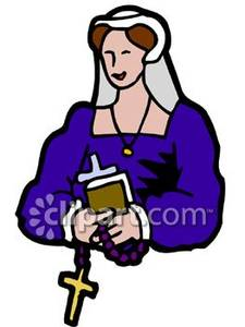 225x300 Midieval Woman Holding A Bible And Rosary Beads