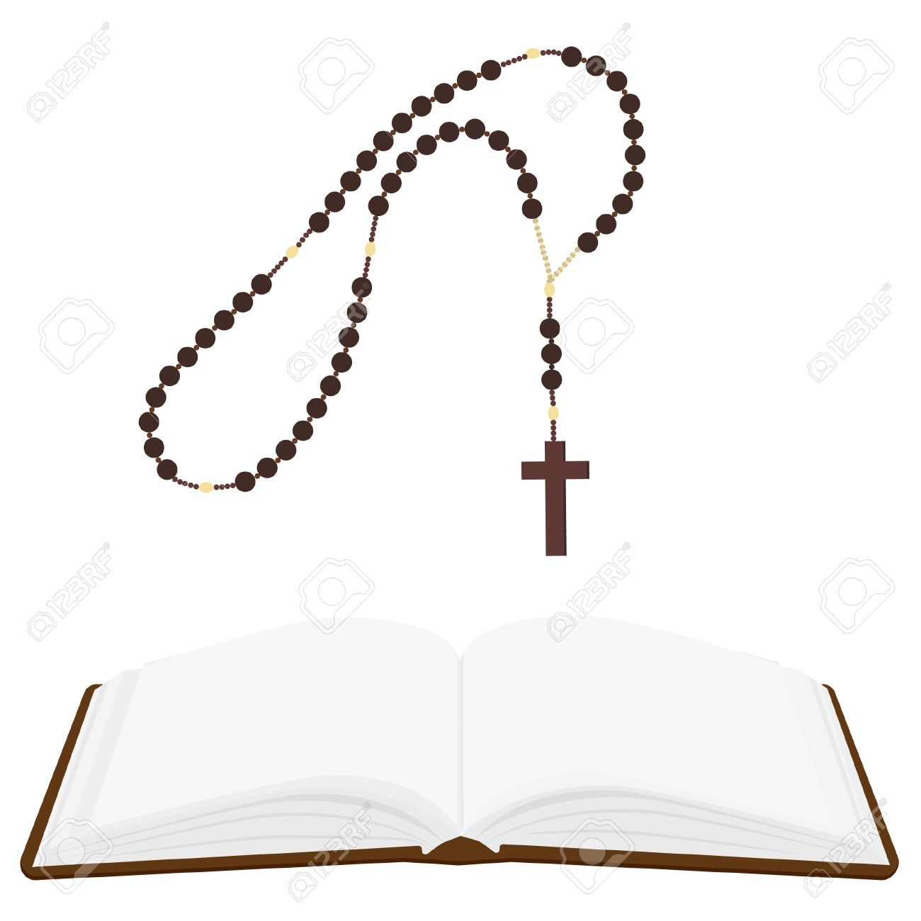 1300x1300 Brown Opened Holy Bible And Rosary Beads With Cross Vector