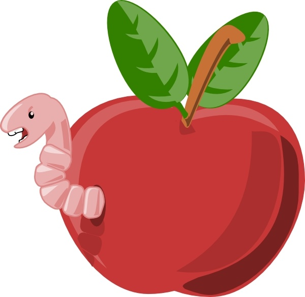600x583 Cartoon Apple With Worm Clip Art Free Vector In Open Office