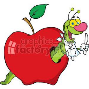 300x300 Royalty Free 4098 Happy Cartoon Worm In Apple 382018 Vector Clip