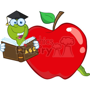 300x300 Royalty Free 6243 Royalty Free Clip Art Happy Worm In Red Apple