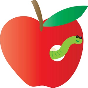 300x298 Wormy Apple Clipart Image