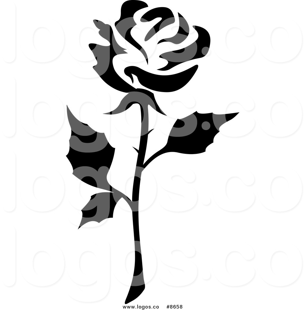 1024x1044 Royalty Free Clip Art Vector Logo of a Black and White Rose and