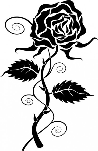 408x626 Black rose clipart Vector Free Download