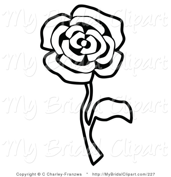 600x620 Bridal Clipart of a Black and White Single Rose Coloring Page by C