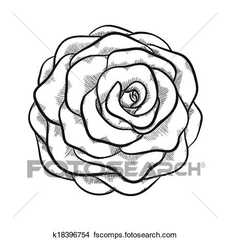 450x470 Clip Art Of White Rose Outline With Gray Spots On A Black