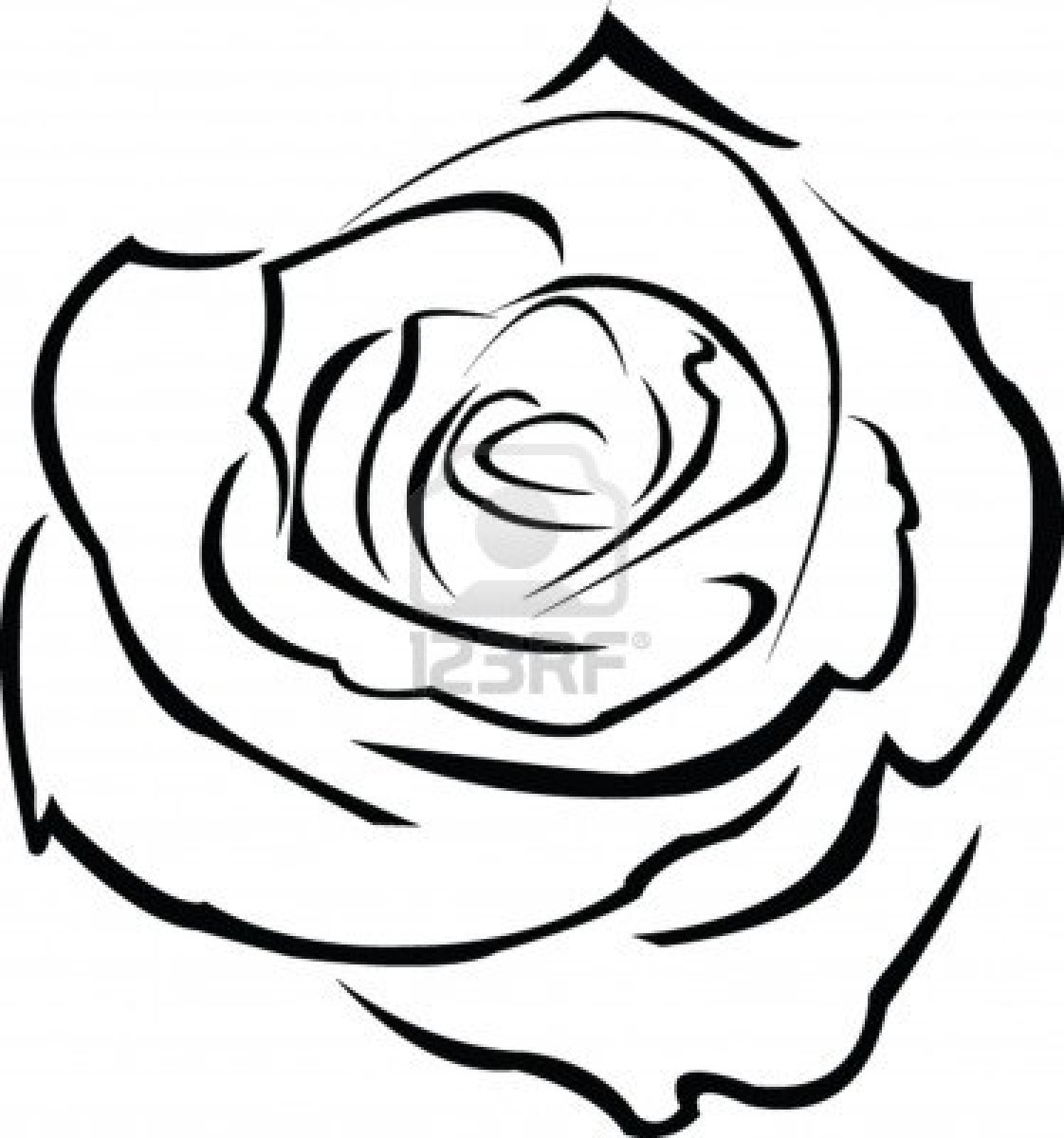 1122x1200 Rose Outline Clipart