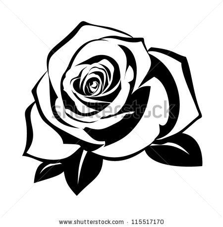 450x458 Single Rose Black And White Clipart Panda