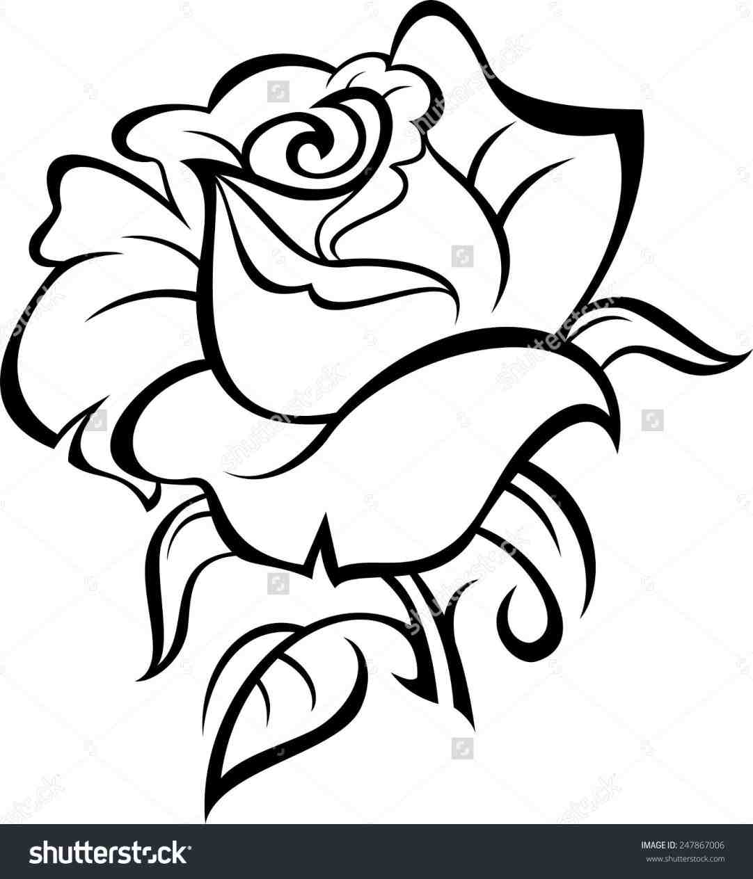 1082x1264 Rose Drawing Outline With Stem