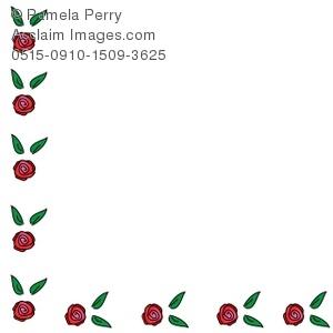 300x300 Art Illustration Of A Simple Rose Corner Page Border