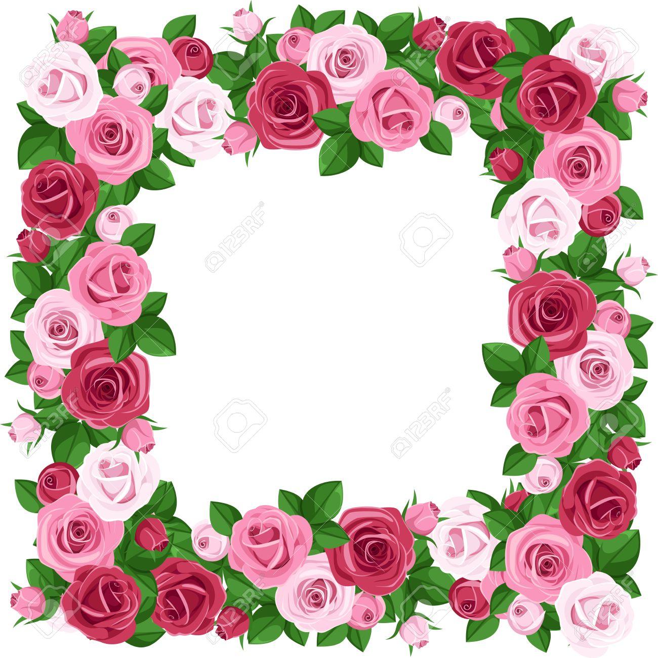 1300x1300 Red Flower Clipart Rose Border
