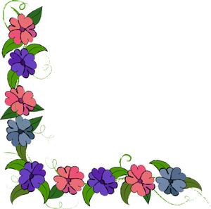 300x297 Purple Flower Clipart Page Border