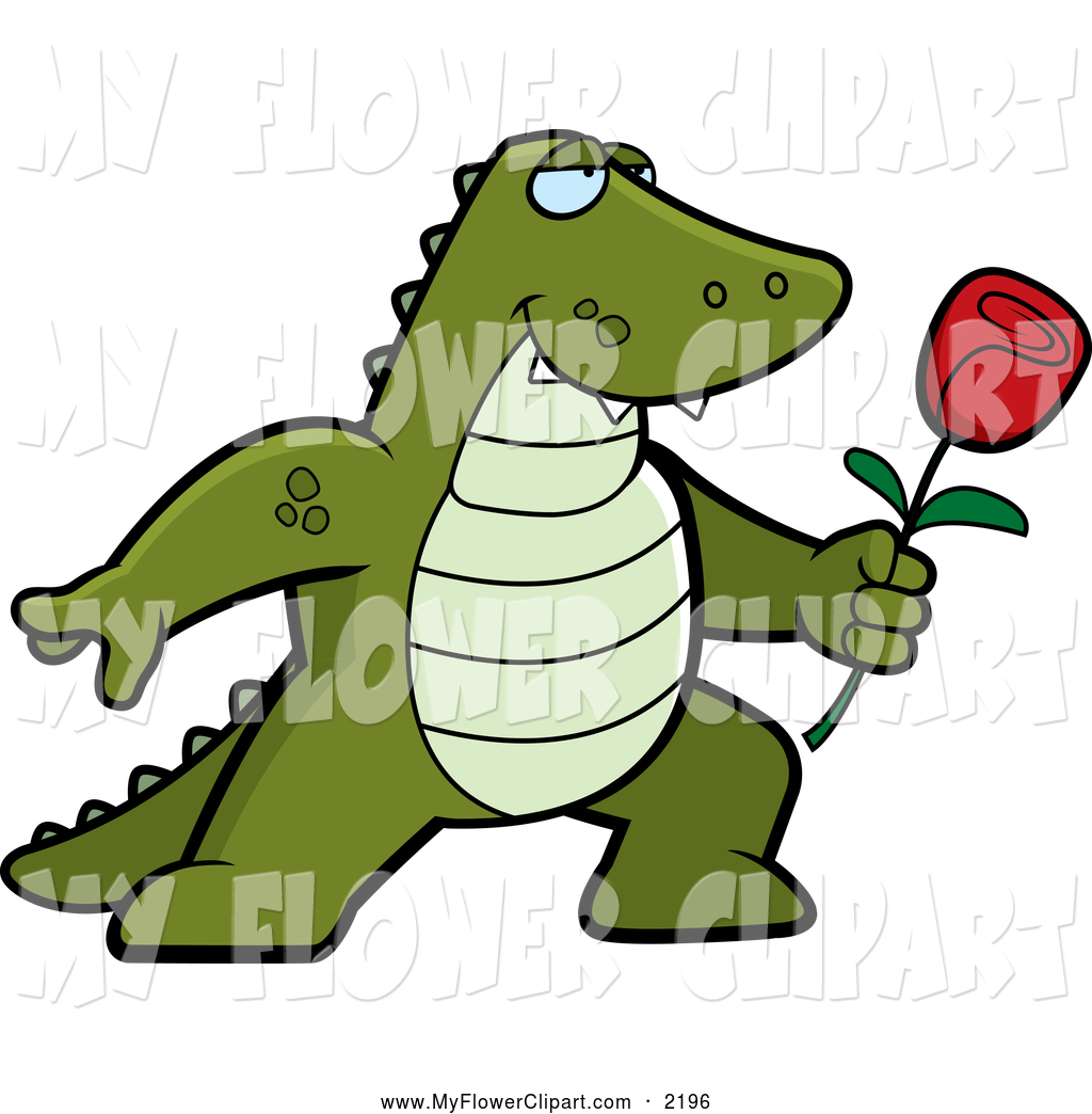 1024x1044 Clip Art Of A Cartoon Alligator Posing With A Red Rose By Cory