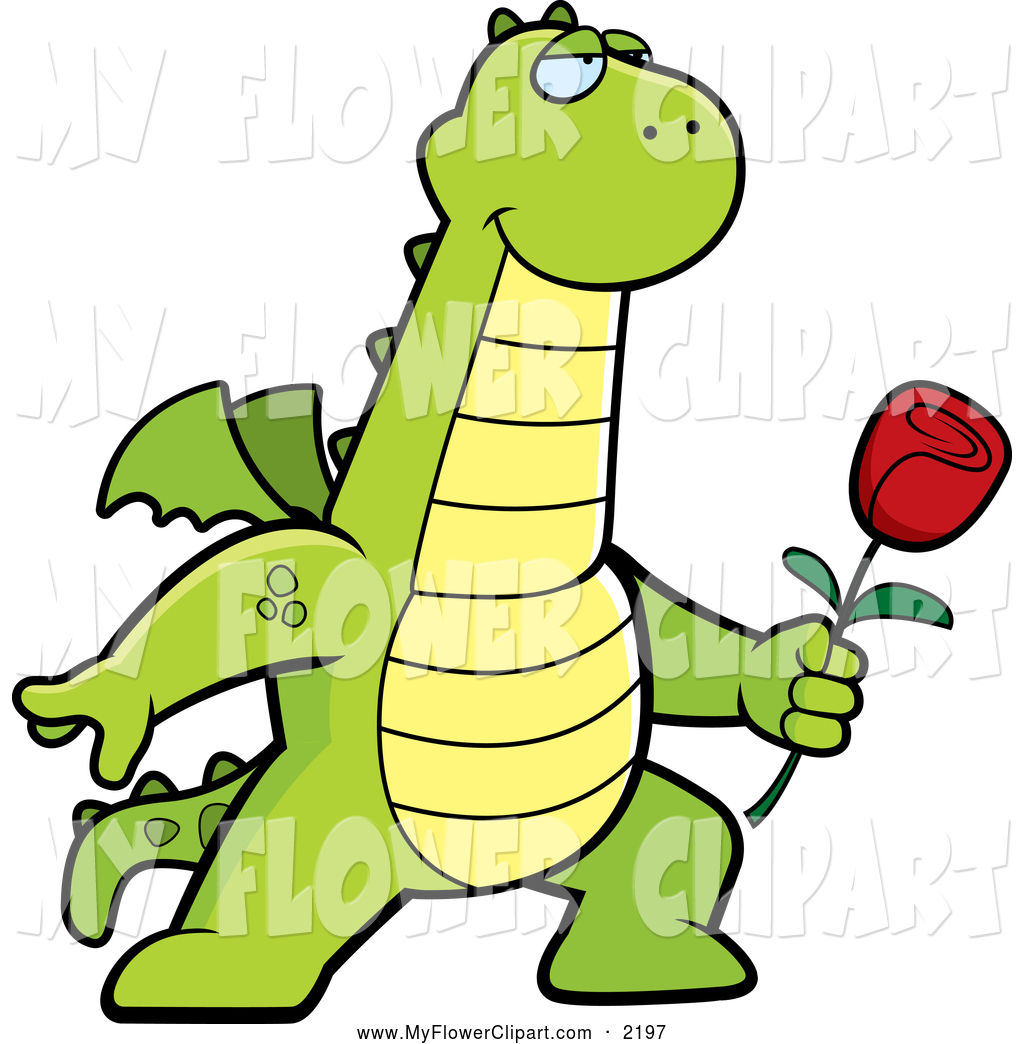 1024x1044 Clip Art Of A Cartoon Dragon Posing With A Red Rose By Cory Thoman
