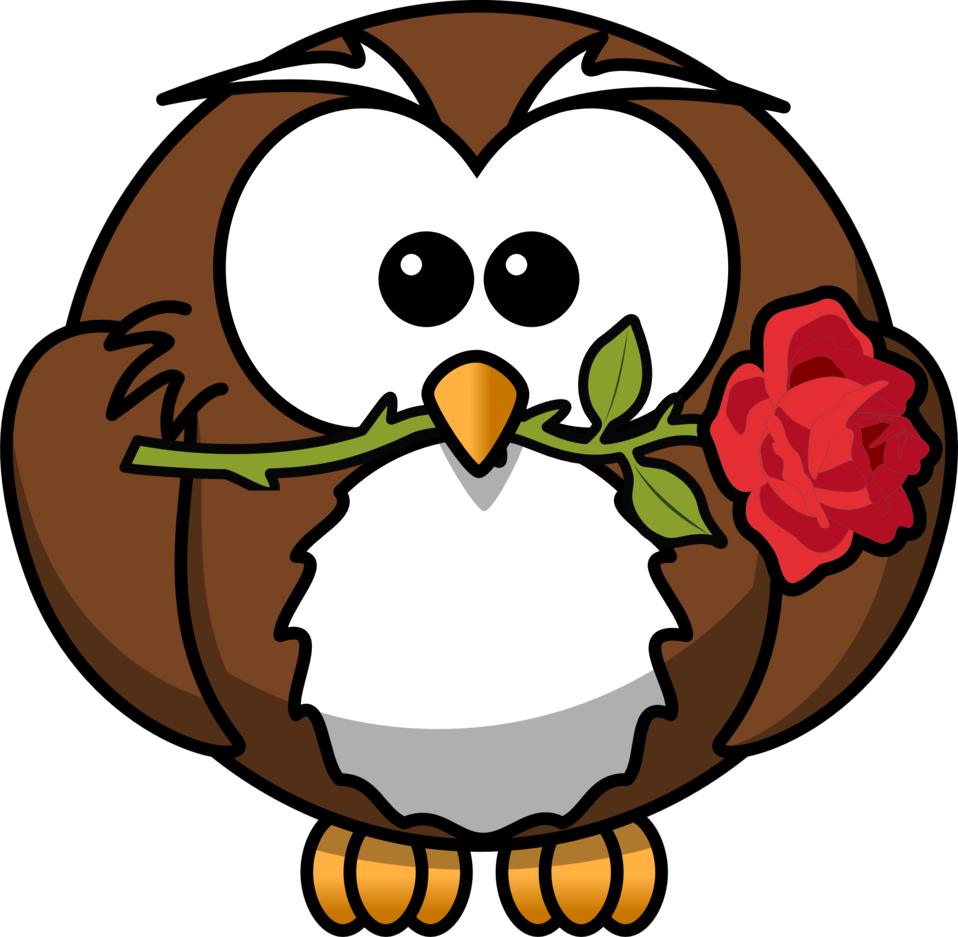 958x937 Public Domain Clip Art Image Cartoon Owl With A Rose Id